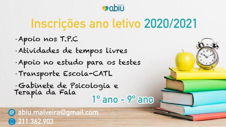 Inscrições ano letivo 2020/2021